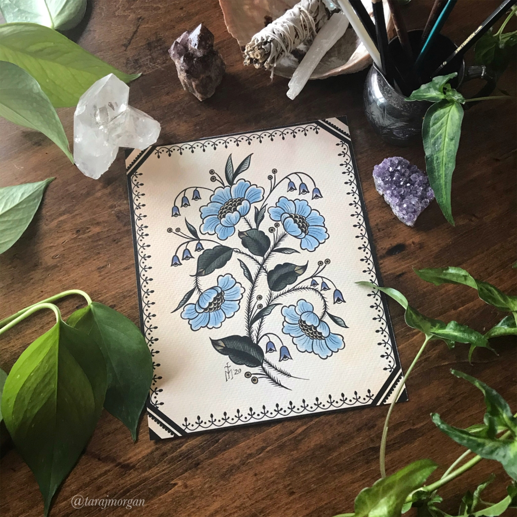 Vintage Antique Style Floral Botanical Art Print by Tattoo Artist Tara Morgan of Black Dragon Tattoo Company Tara J Morgan @tarajmorgan Painting Tattoo Illustration