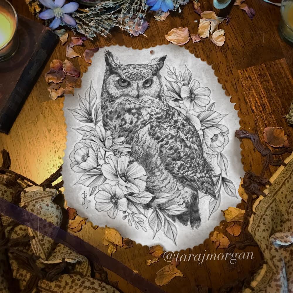 Owl tattoo, nature tattoo, Ithaca tattoo, cortland tattoo, syracuse tattoo, female tattoo artist, woman tattoo artist, best tattoo, studio, shop, bird tattoo, black tattoo, Tara, carol oddy, Amanda, Amy jiao, sacred art, steihls, Medusa tattoo, hand of fate tattoo, Colby, Tara, award winning tattoo artist, ink master